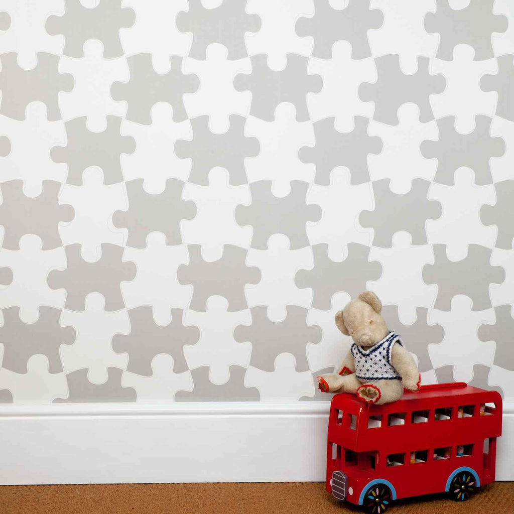 "PaperBoy ""It's a puzzle""Childrens Wallpaper in stone."