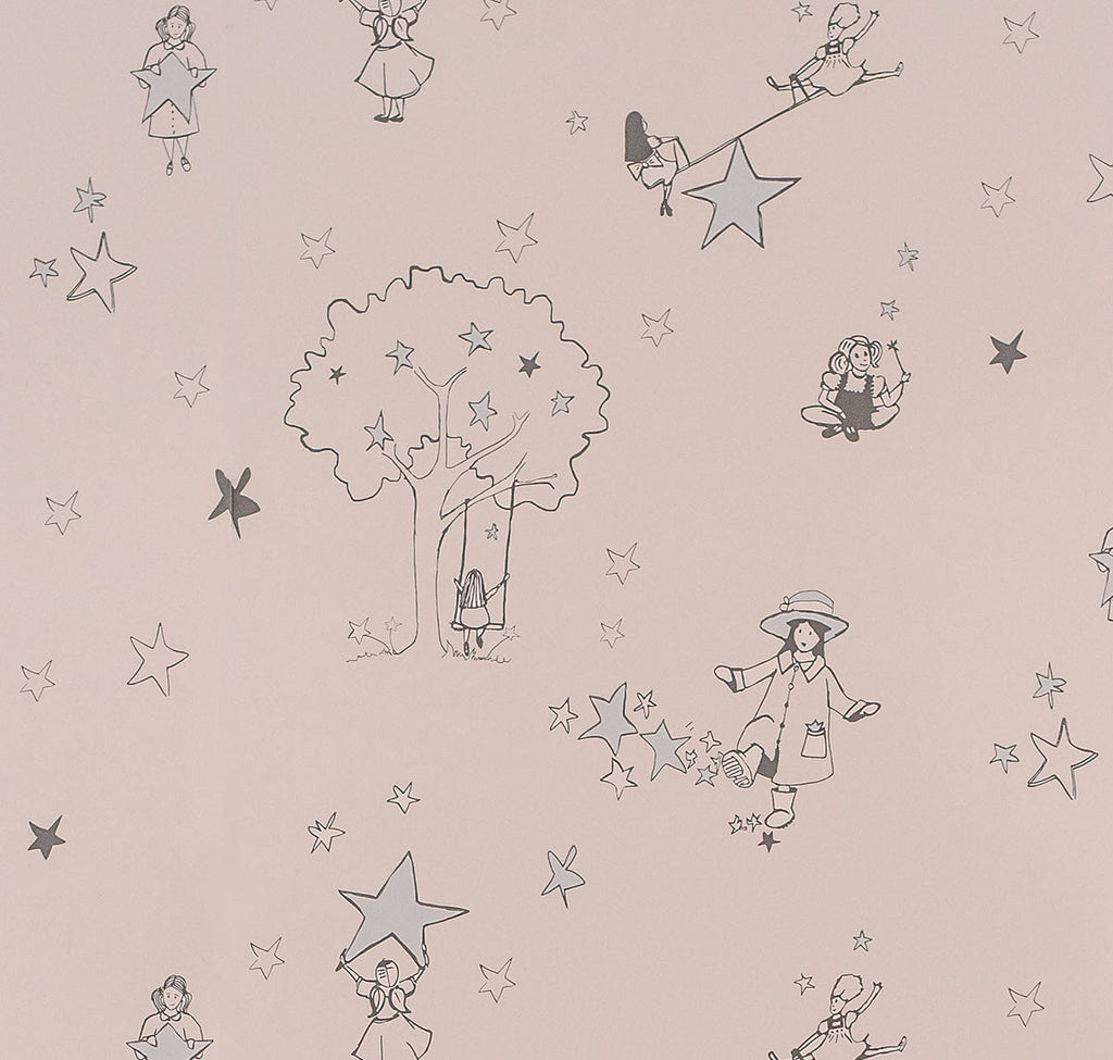 Catch A Star Wallpaper in Silver & Pink 10m x 52cm. Online in Australia
