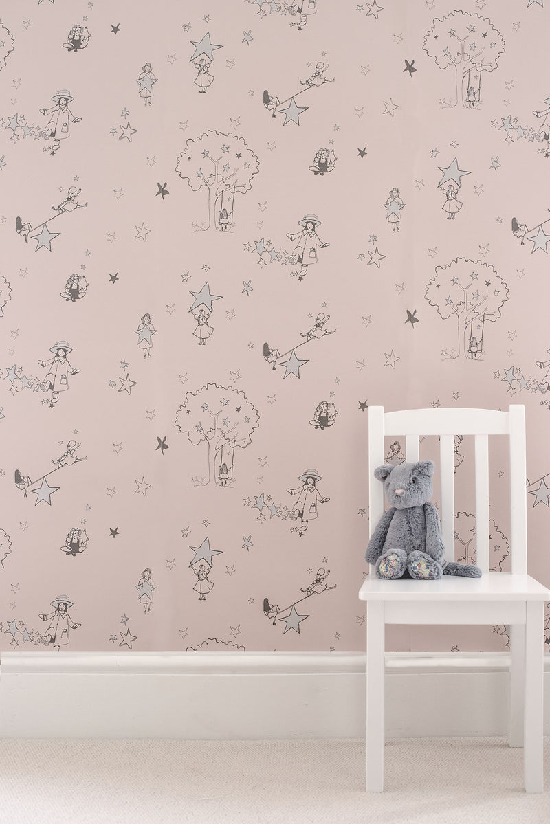 Catch A Star Wallpaper in Silver & Pink by Katie Bourne Interiors. Girls Wallpaper.