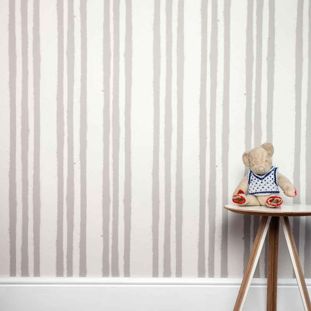 Paperboy Striped childrens wallpaper in Stone & Brown
