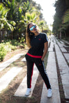 zBLACK & RED striped KIT women