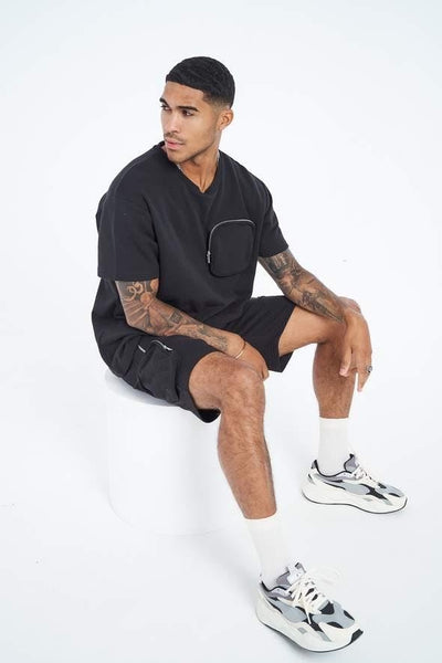 Multi-pocket short set en noir