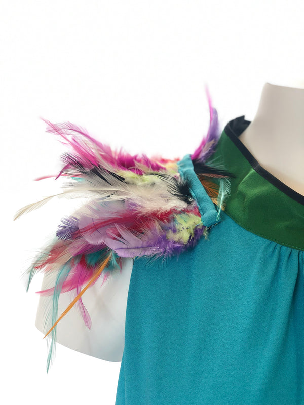 Pleated Dress w/ Feathers
