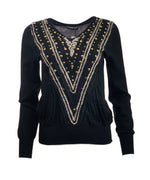 V-Neck Sweater w/ Gold Studs