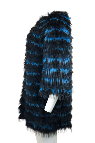 Blue layered Fur coat