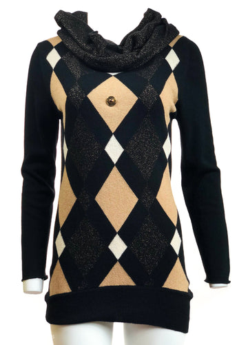 Long Diamond Sweater w/ Collar Scarf