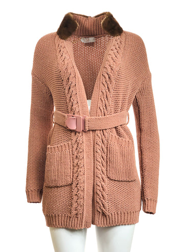 Club Cardigan w/ Mink Collar
