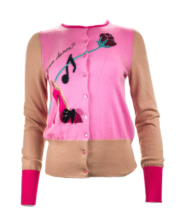 Rose & Shoe Cardigan w/ Crystals
