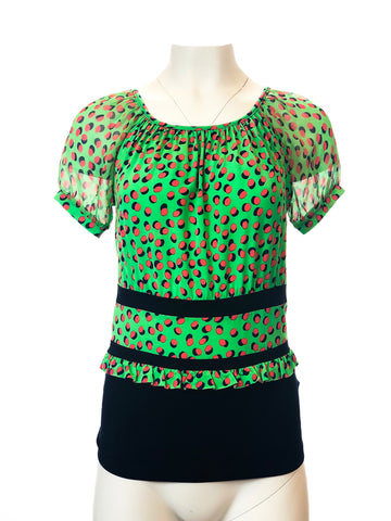 Poke-a-Dot Top with Silk Sleeves