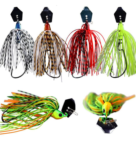 3 Buzzbait Jigs with Rubber Skirts and  Offset Hook