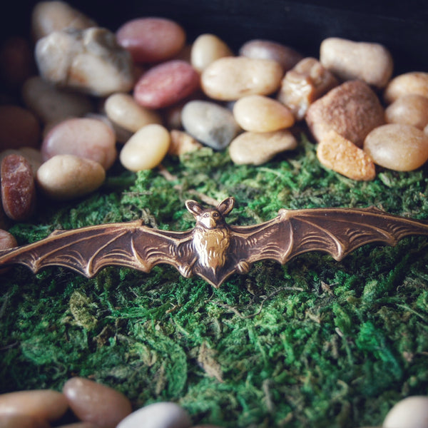 Extra Wide Gothic Brass Vampire Bat Brooch — Available in Both Bright Gold and Antiqued Brass Finishes