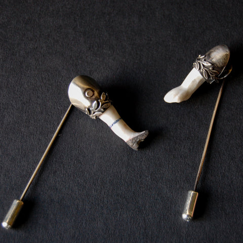 Antique German Bisque and Sterling Silver Arm and Leg Stickpins -- Sold Separately or Together as a Set