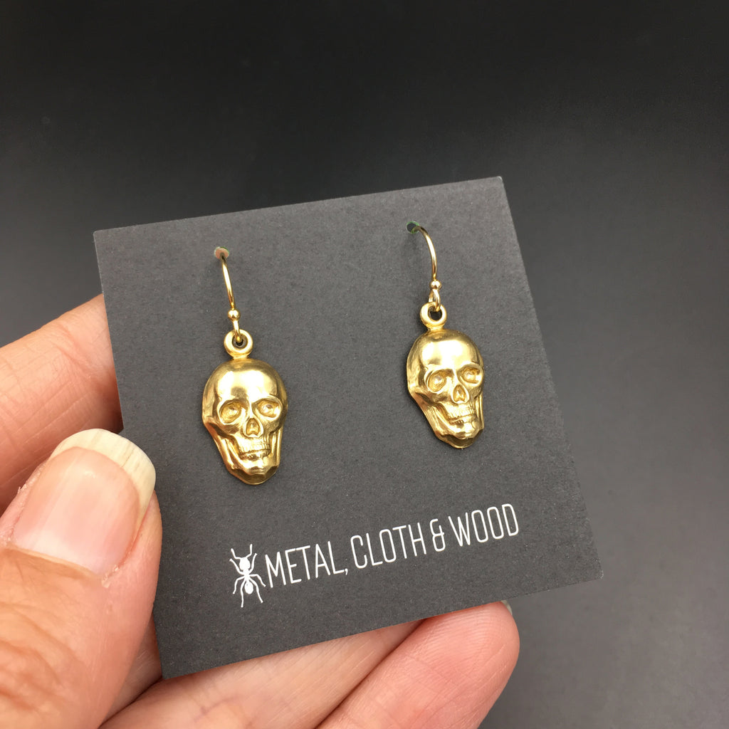 Gothic Handmade Brass & Gold Skull Earrings -- Skull Dangle Earrings Available in Two Finishes: Bright Gold and Antique Gold