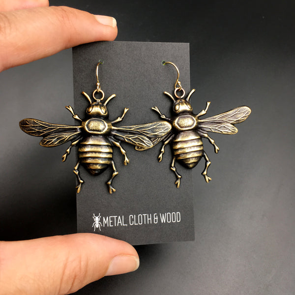 Antiqued Brass or Bright Gold Brass Bee Insect Earrings with Gold Filled Ear Wires
