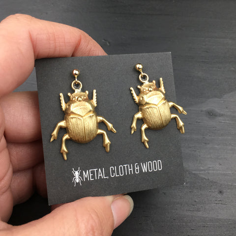 Brass Scarab Beetle Earrings with Gold Filled Ball Post Earrings and Earring Backs