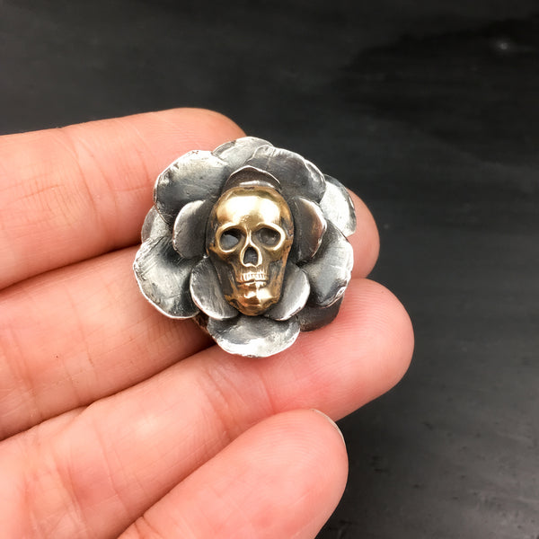 Handcrafted Sterling Silver Rose Brooch with Brass Skull