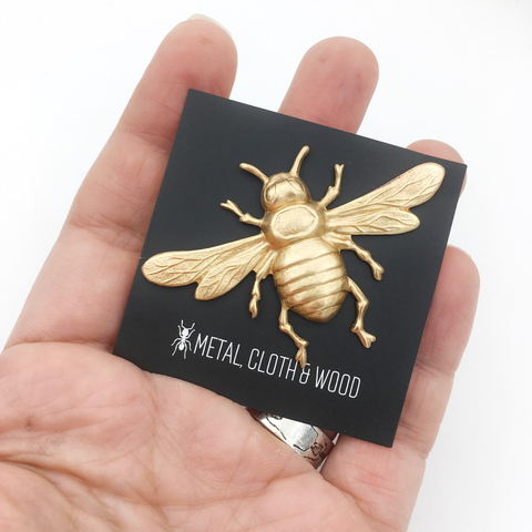 Brass Honeybee Insect Pin or Brooch