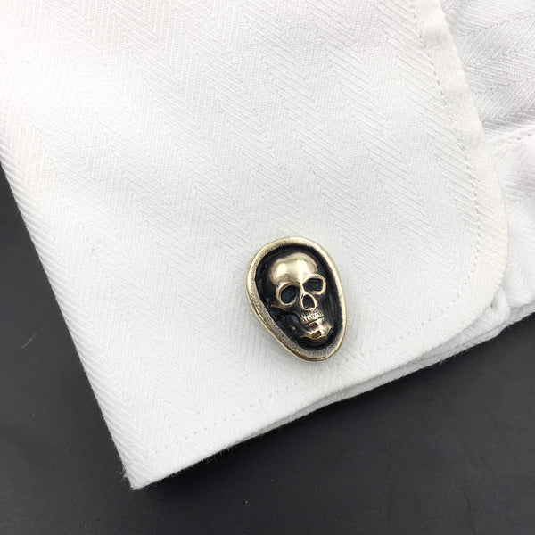 Sterling Silver Skull Cufflinks with Brass Skulls