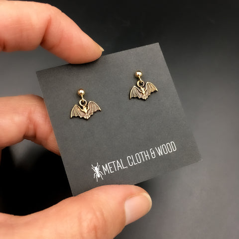 Dangling Bat Stud Earrings with Brass Bats and Gold Filled Posts and Earring Backs