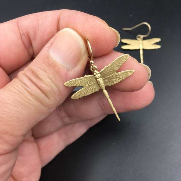 Brass and Gold Dragonfly Dangle Insect Earrings -- Perfect Gift for any Dragonfly Lover -- Available in Bright Gold or Antiqued Brass Finish