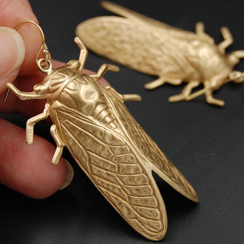 Brass and Gold Cicada Insect Earrings