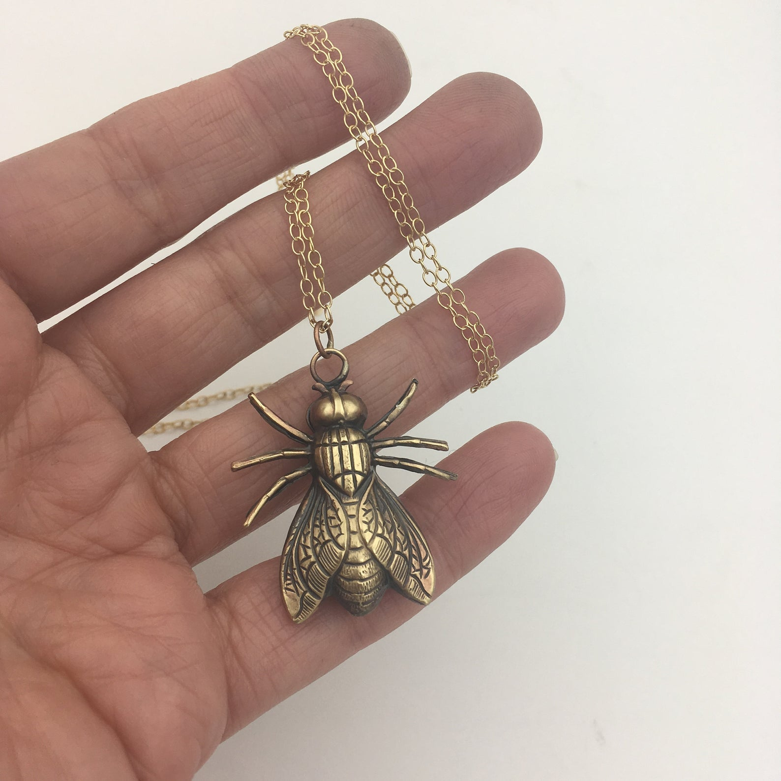 Gold Filled Necklace with Brass Fly Insect Pendant -- You Choose the Length!