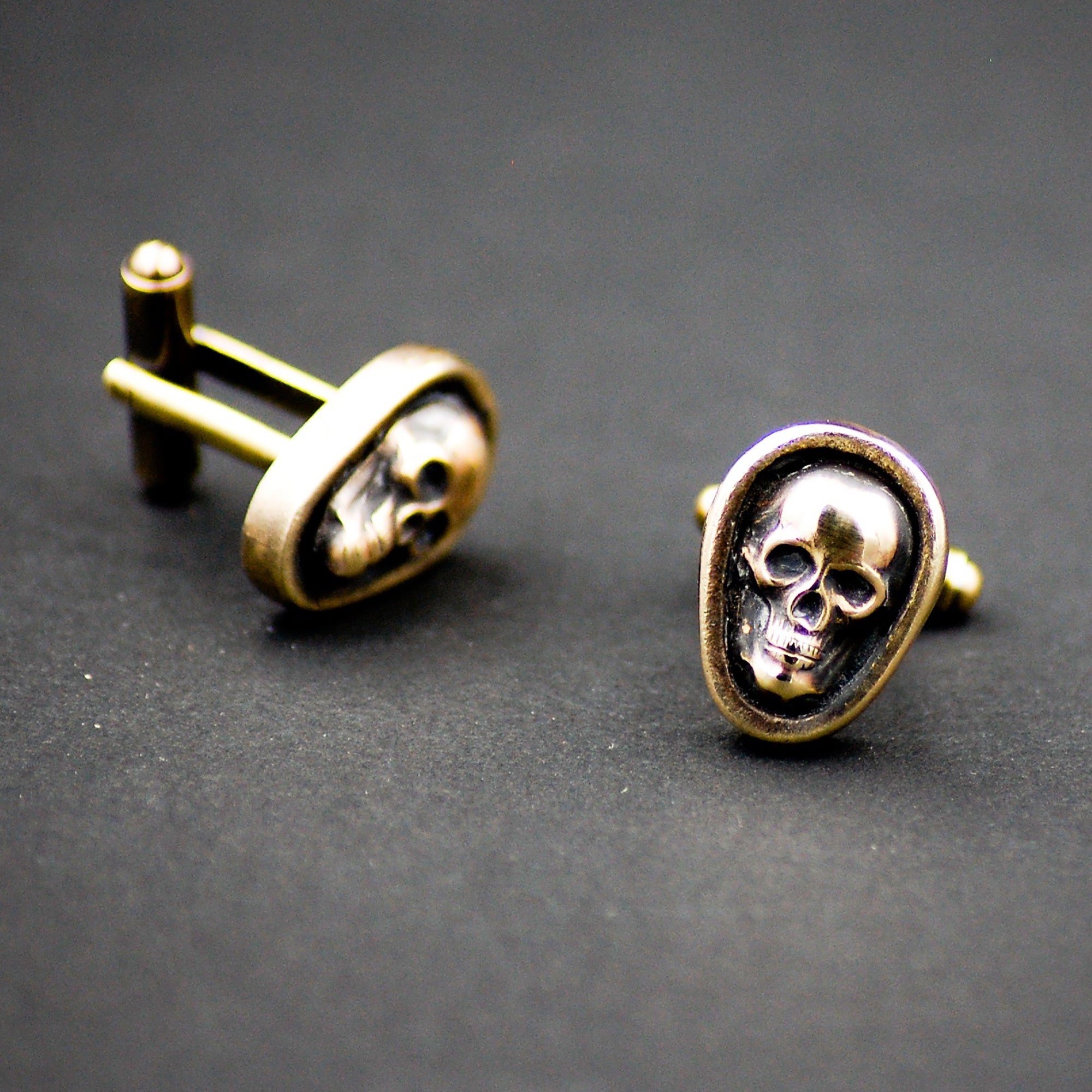 Antiqued Gold Skull Cufflinks -- Unisex Cuff Links for Groom or Father of the Bride or Groomsmen