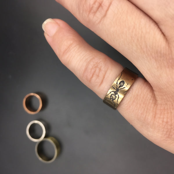 Handmade Bronze Eternity Ant Insect Ring Band