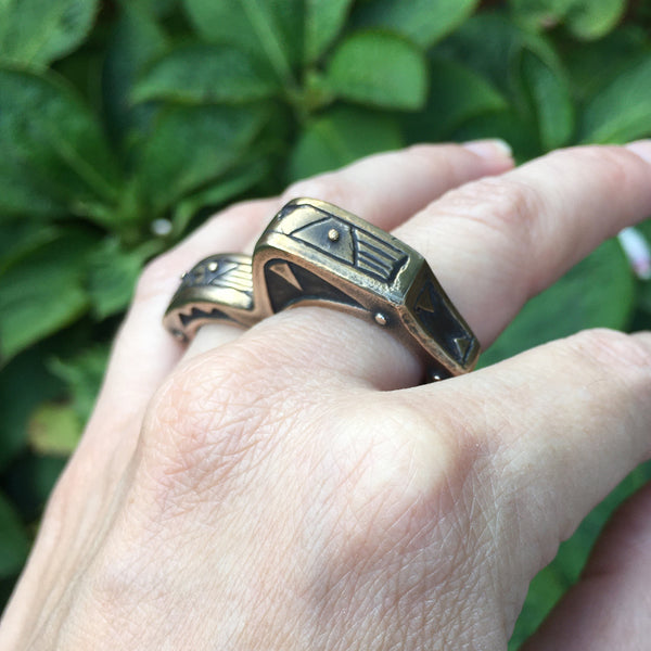 Heavy Primitive Bronze Double Knuckle Duster Statement Ring
