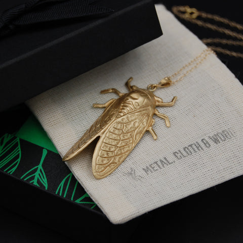Cicada Insect Pendant with Gold Filled Necklace and Golden Brass Cicada Charm -- Perfect for Brood X! Bright Gold or Antiqued Finish Available