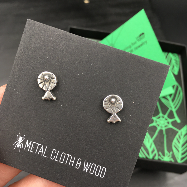 Tiny Sterling Silver Primitive Geometric Stud Earrings — Hand Carved Design Made in Certified Green 925 Sterling Silver