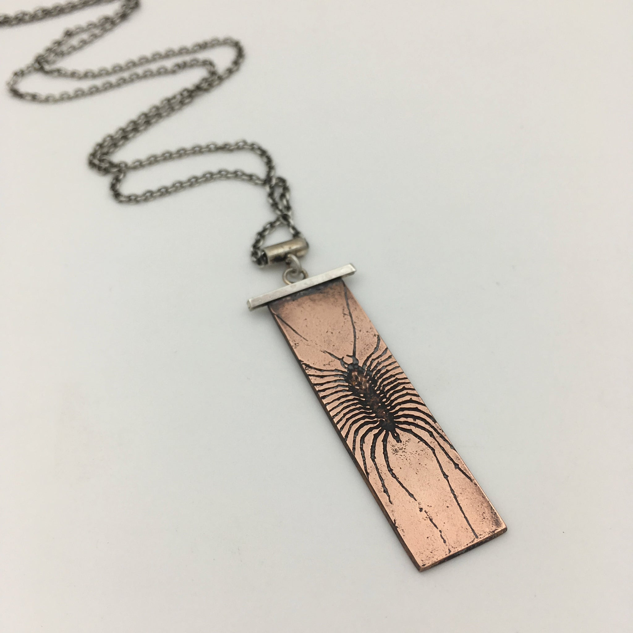 Handmade Centipede Necklace in Sterling Silver & Copper