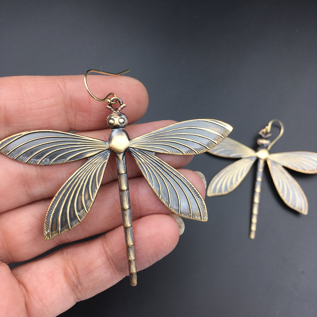 Brass Dragonfly Insect Earrings -- Available in Antiqued or Bright Gold!