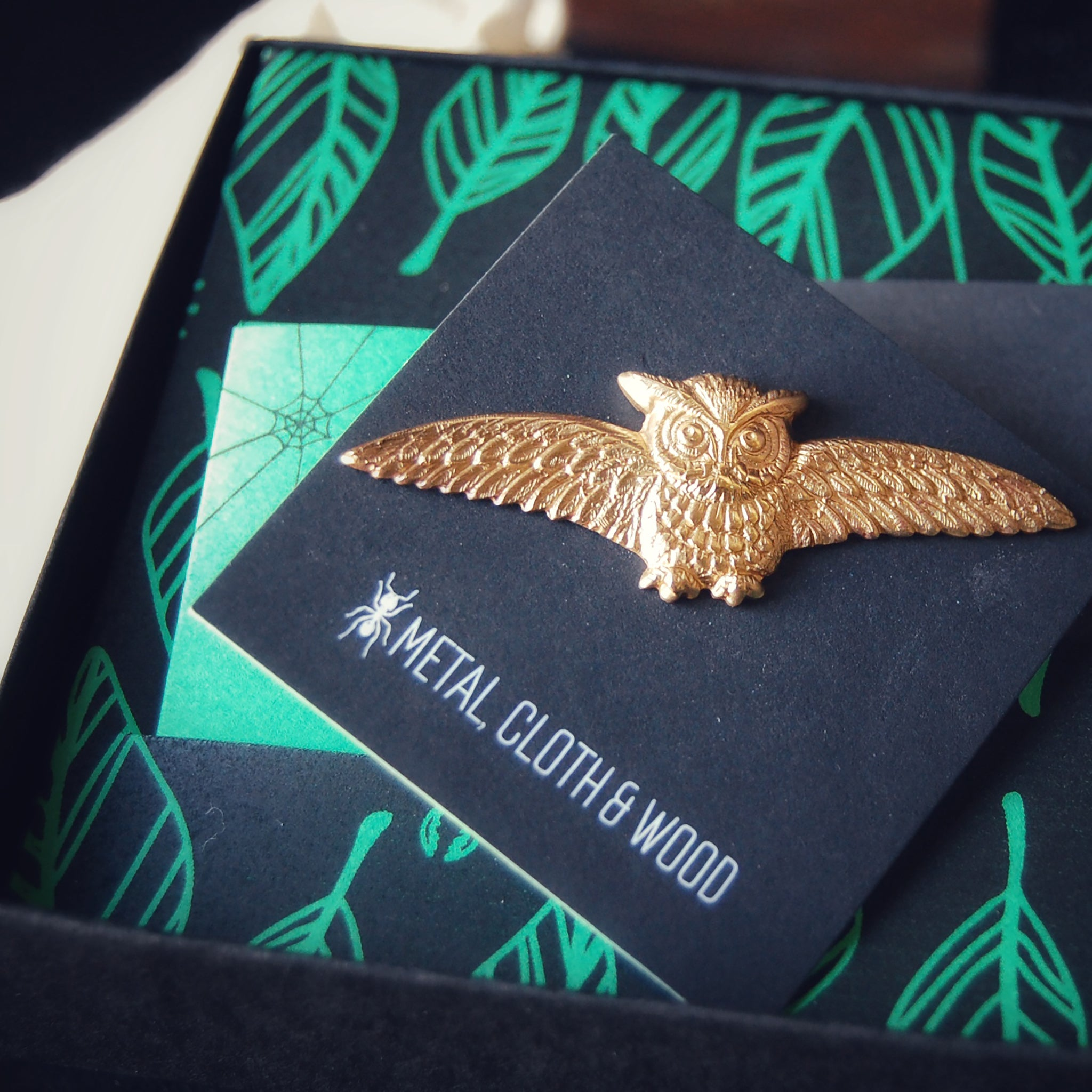 Golden Brass Horned Owl Brooch Pin Available in Both Bright Gold and Antiqued Brass Finishes