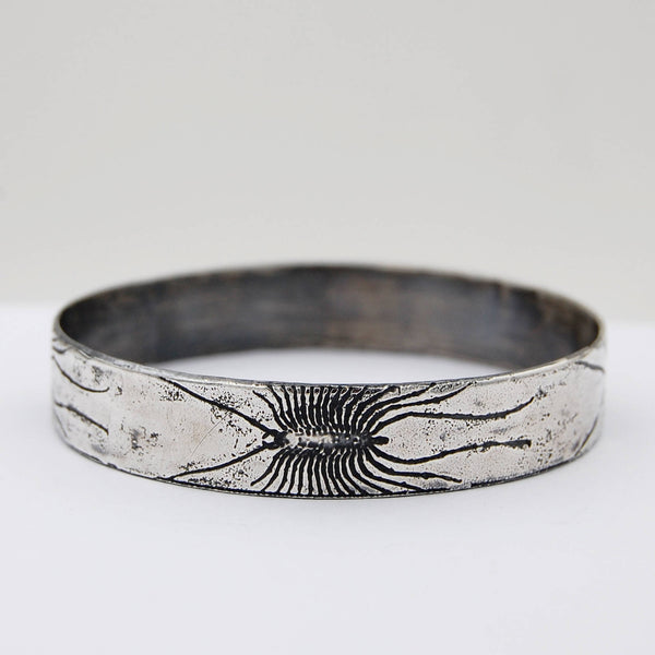 House Centipede Insect Bangle Bracelet in Sterling Silver