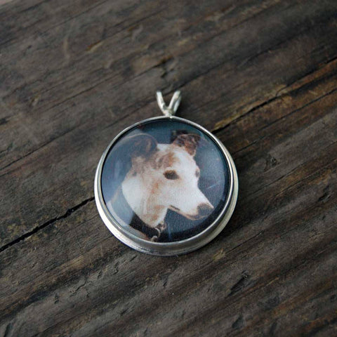 Round Custom Photo Necklace or Photo Pendant in Sterling Silver