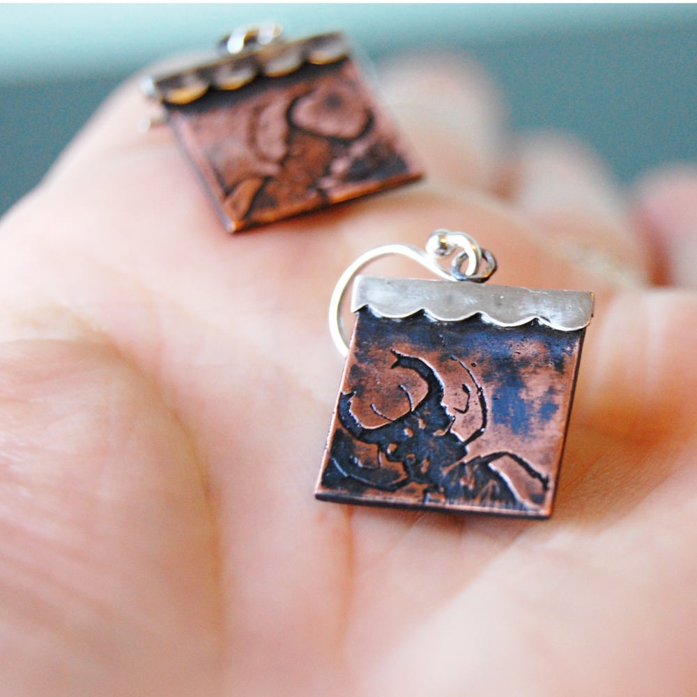 Stag Beetle Insect Jewelry Earrings in Sterling Silver & Copper