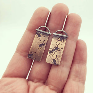 Copper and Sterling Silver Ant Dangle Insect Earrings
