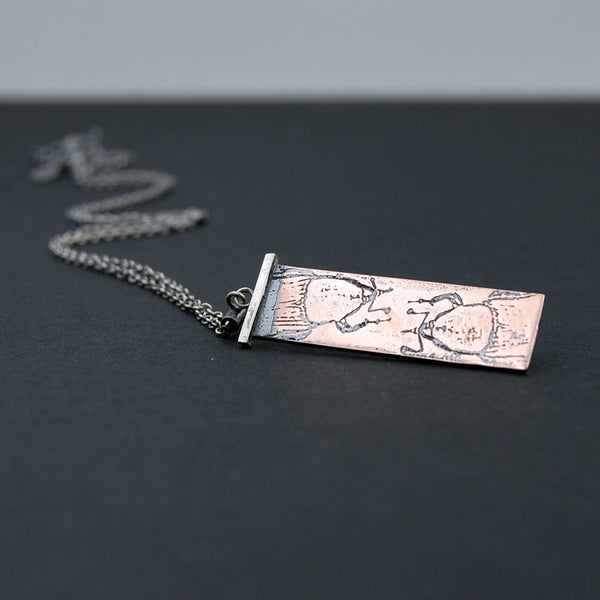 Handmade Palm Weevil Insect Necklace in Sterling Silver & Copper