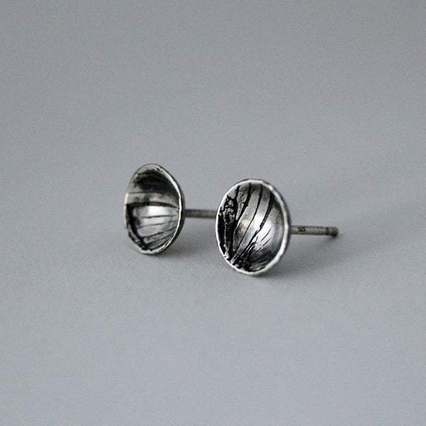 Handmade Sterling Silver Moth Insect Wing Pattern Stud Earrings
