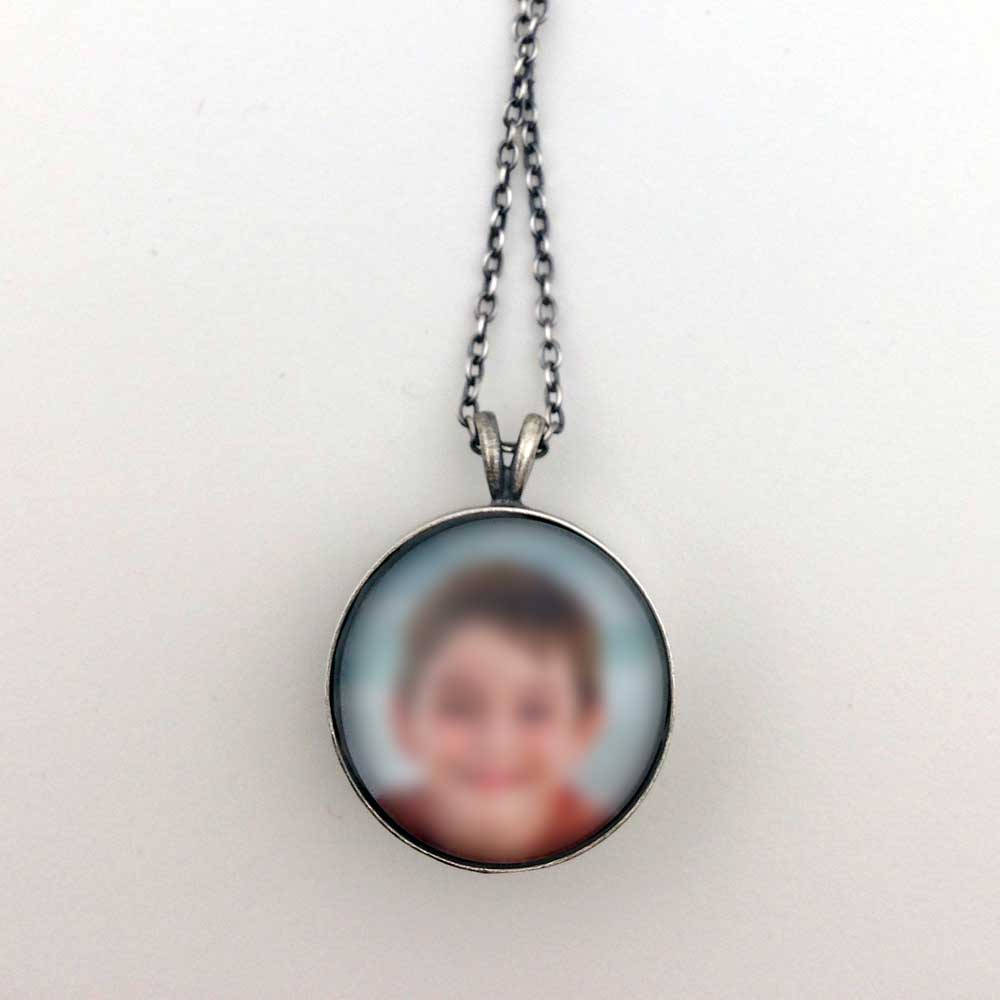 Sterling Silver Double-Sided Round Custom Photo Necklace or Custom Photo Pendant