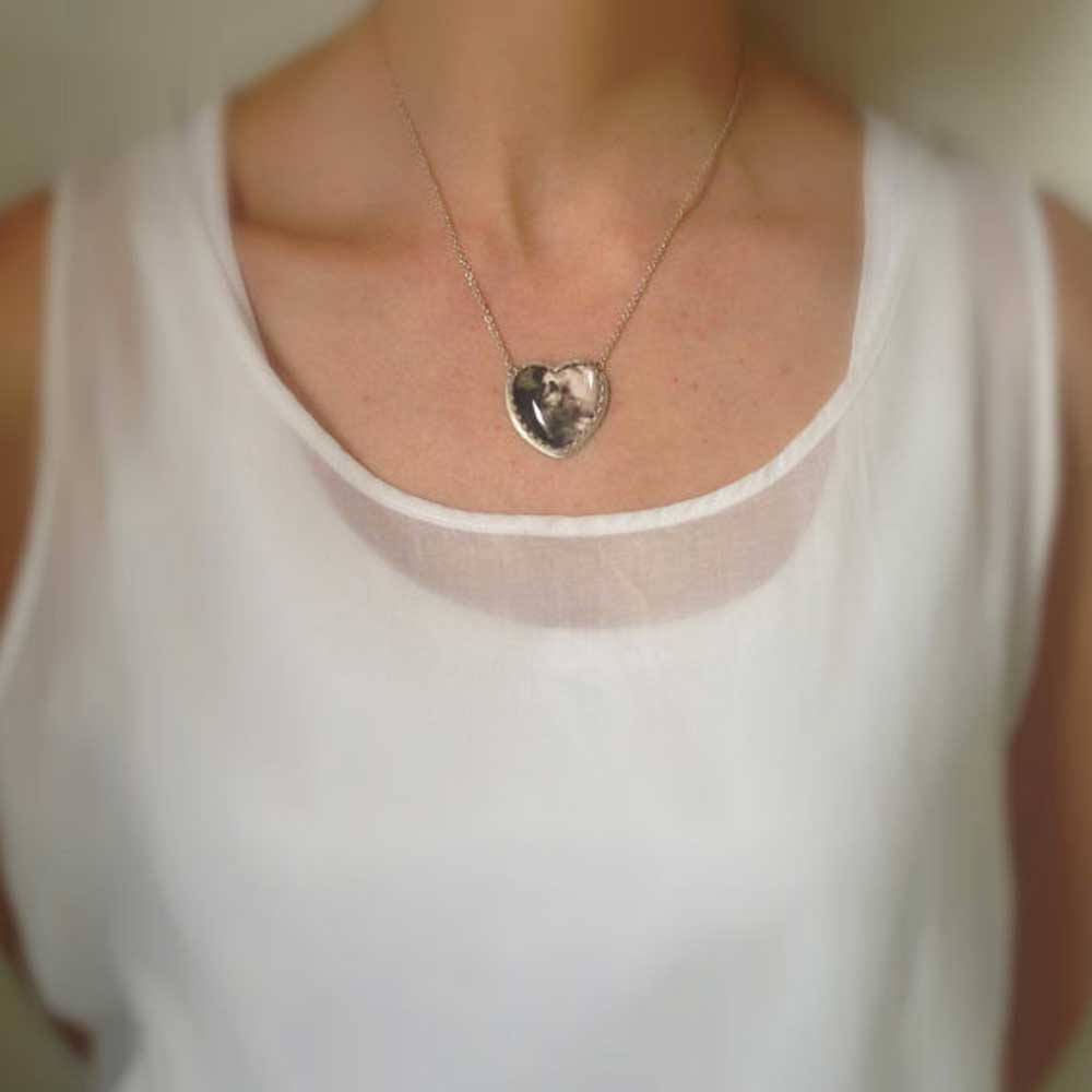 Sterling Silver Heart Shaped Custom Photo Necklace