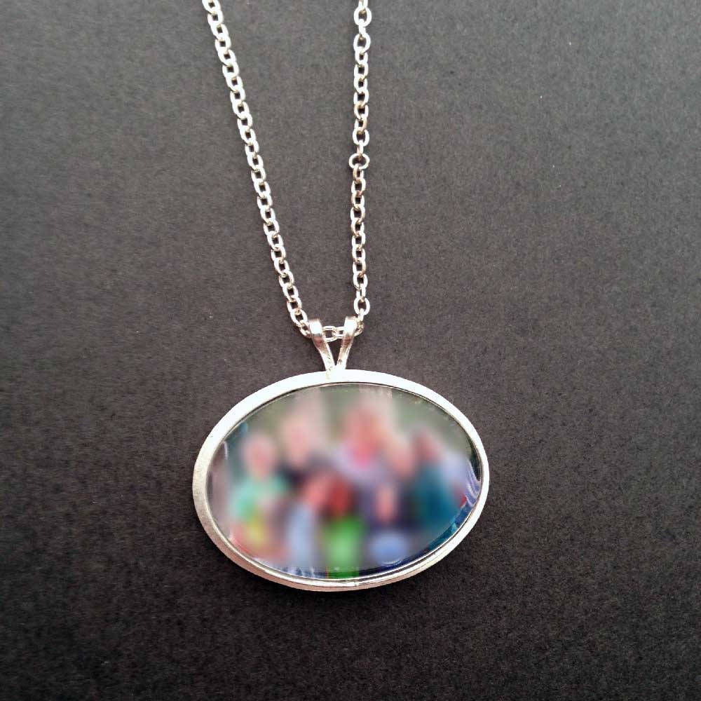 Sterling Silver Horizontal Custom Photo Necklace or Photo Pendant