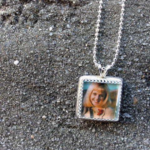 Tiny Square Custom Sterling Silver Photo Pendant or Custom Photo Necklace