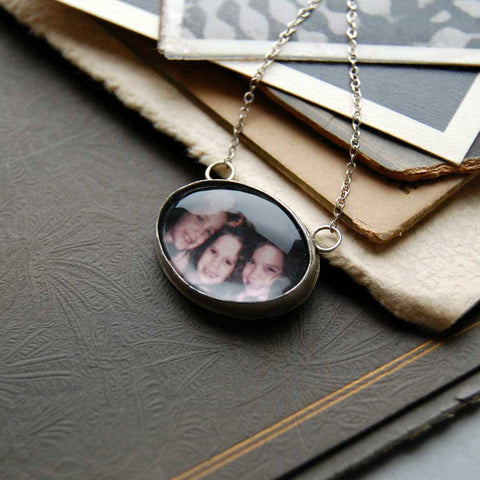 Oval Custom Photo Necklace or Photo Pendant in Sterling Silver