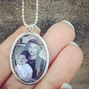 Sterling Silver Vertical Oval Custom Photo Necklace or Custom Photo Pendant