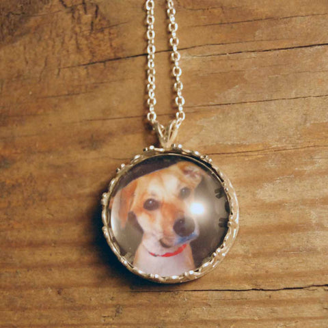 Fancy Round Custom Photo Necklace or Custom Photo Pendant in Sterling Silver