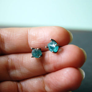 Raw Apatite & Antiqued Sterling Silver Stud Earrings