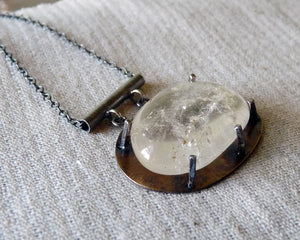 Minimalist Handcrafted Quartz Crystal Pendant Necklace in Sterling Silver & Brass
