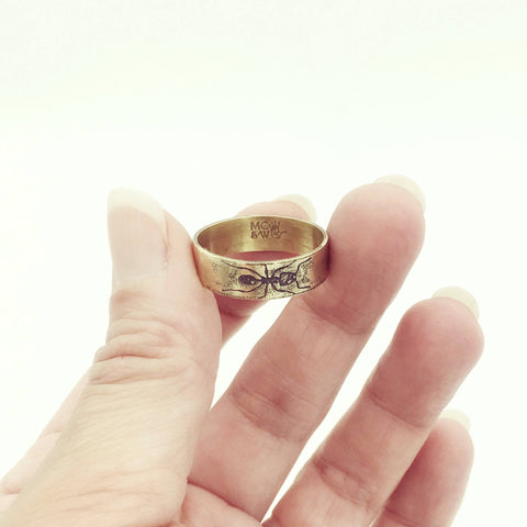 Handmade Yellow Brass Eternity Ant Insect Ring Band